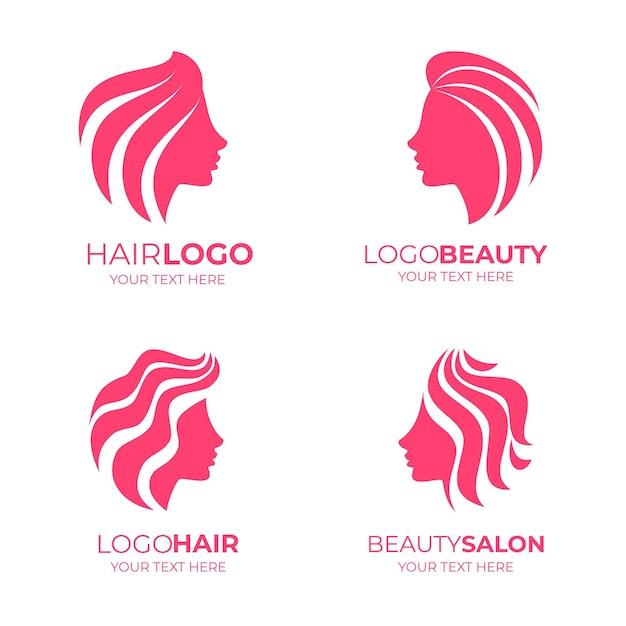 Pakiet Logo Salonu Fryzjerskiego Z Płaską Ręką Darmowych Wektorów