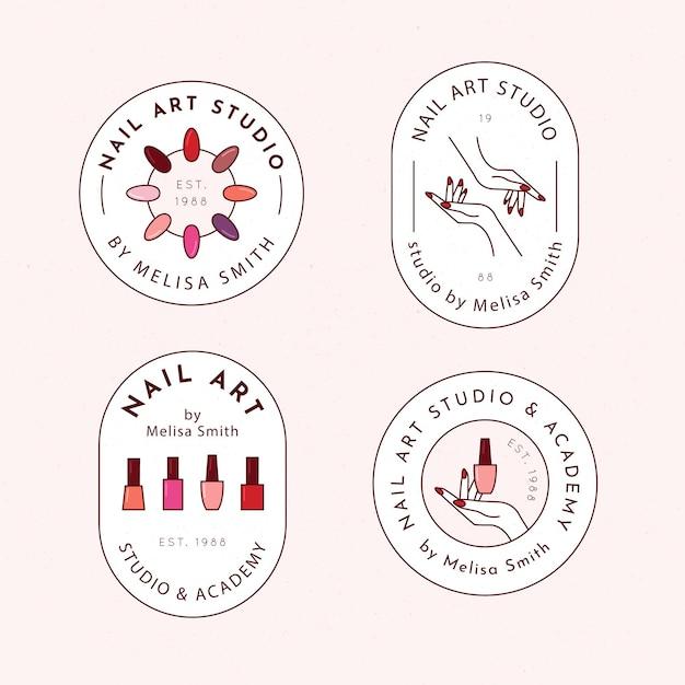 Pakiet Logo Studia Sztuki Paznokci Darmowych Wektorów