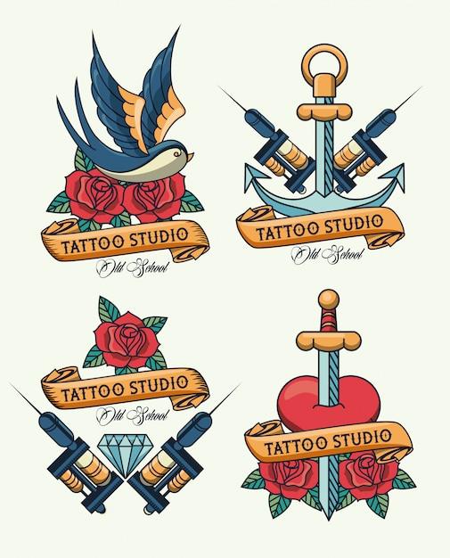 Pakiet Logo Studia Tatuaży Premium Wektorów