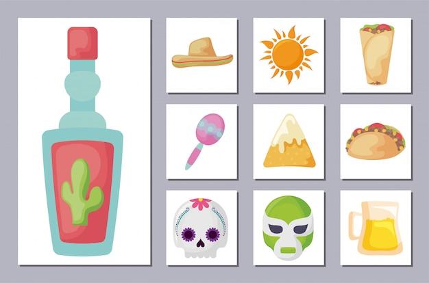 Pakiet Meksykański Tradycyjny Zestaw Ikon Premium Wektorów