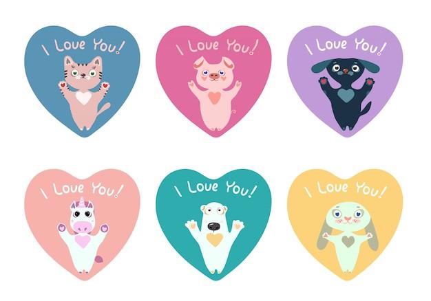Pakiet naklejki serca z uroczych zwierzątek na walentynki. Premium Wektorów