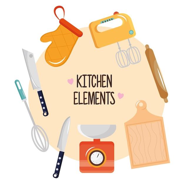 Pakiet Ośmiu Przyborów Kuchennych Zestaw Ikon I Projektowania Ilustracji Napis Premium Wektorów
