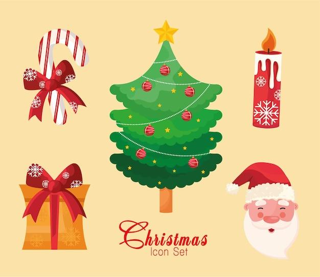 Pakiet Pięciu Ikon I Napisów Wesołych świąt Premium Wektorów