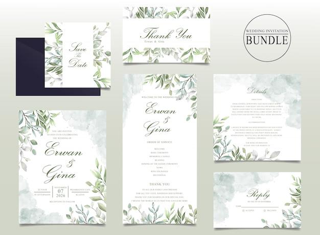 Pakiet piękne zaproszenia ślubne z liści akwarela Premium Wektorów