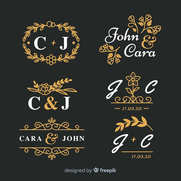 Pakiet Pięknych Ozdobnych Monogramów ślubnych Darmowych Wektorów