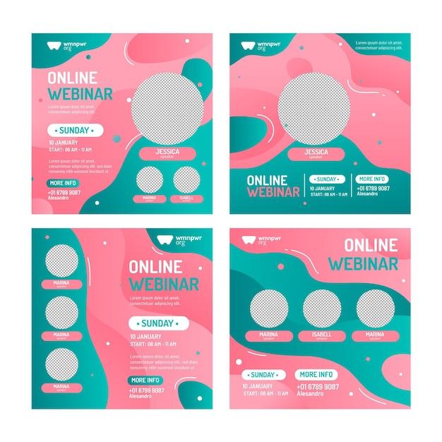 Pakiet Postów Z Webinarów W Mediach Społecznościowych Premium Wektorów