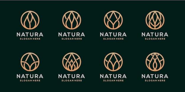 Pakiet Projektu Logo Kwiat Natura Premium Wektorów