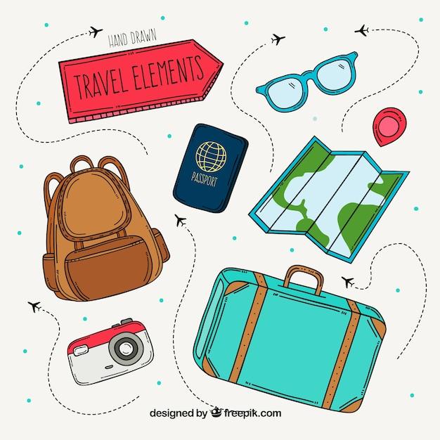 Pakiet Ręcznie Rysowanych Elementów Podróży Darmowych Wektorów