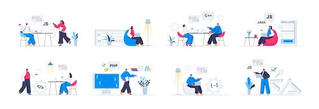 Pakiet Scen Programowania Płaskich Ludzi W Sytuacjach Premium Wektorów