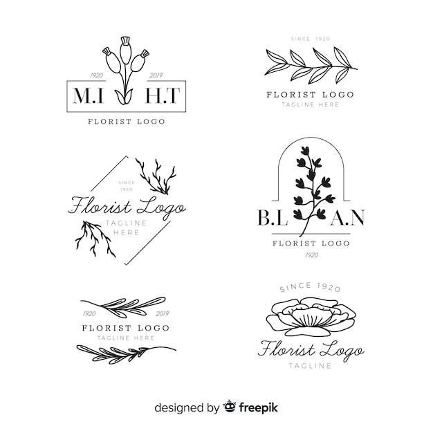Pakiet ślubnych Logo Kwiaciarni Darmowych Wektorów