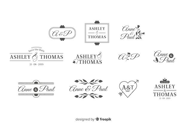 Pakiet ślubnych logo monogramów Darmowych Wektorów