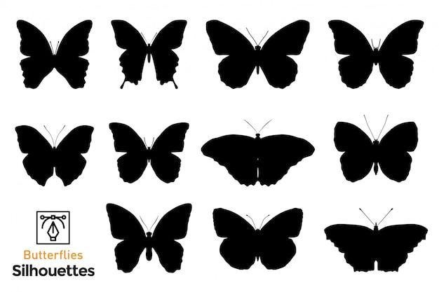 Pakiet Sylwetki Motyli. Premium Wektorów