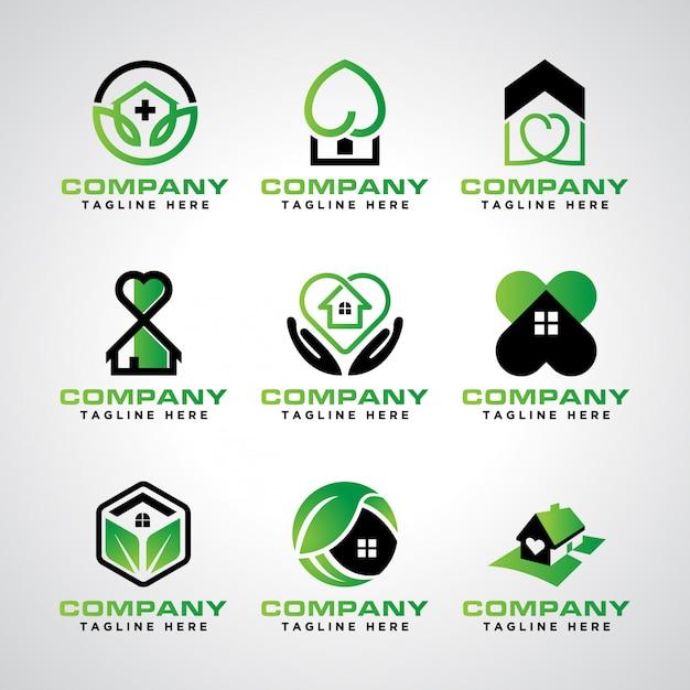 Pakiet szablonów logo opieki domowej Premium Wektorów