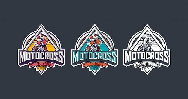 Pakiet Szablonów Logo Rocznika Odznaka Premium Motocross Championship 2020 Premium Wektorów