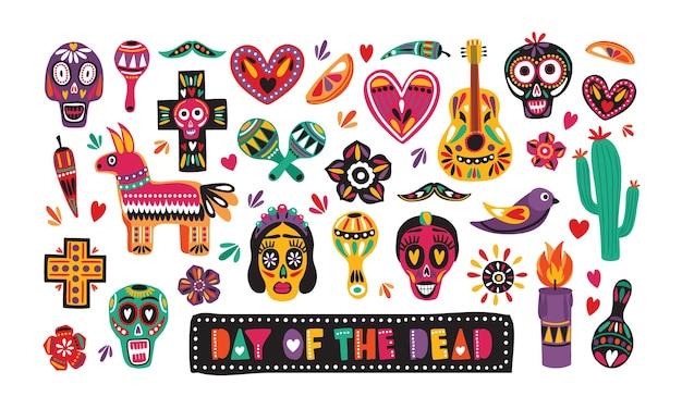 Pakiet Tradycyjnych Dekoracji Day Of The Dead Na Białym Tle Premium Wektorów