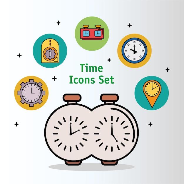 Pakiet Trzynastu Czasowych Ikon Stylu Linii I Wypełnienia Premium Wektorów
