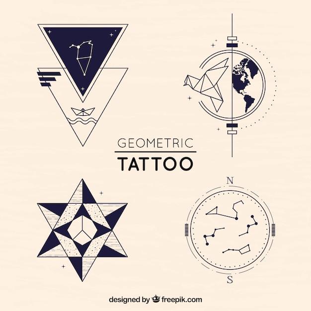 Pakiet Twórczych Tatuaż Geometrycznych Darmowych Wektorów