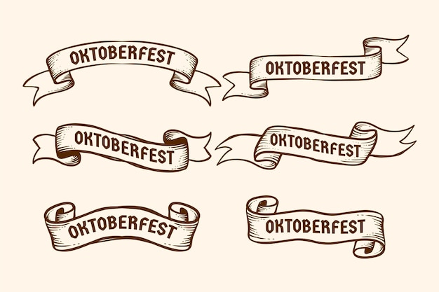 Pakiet Wstążek Oktoberfest Premium Wektorów