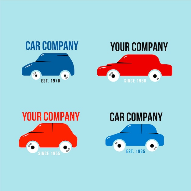 Pakiet Wzorów Logo Płaskiego Samochodu Darmowych Wektorów