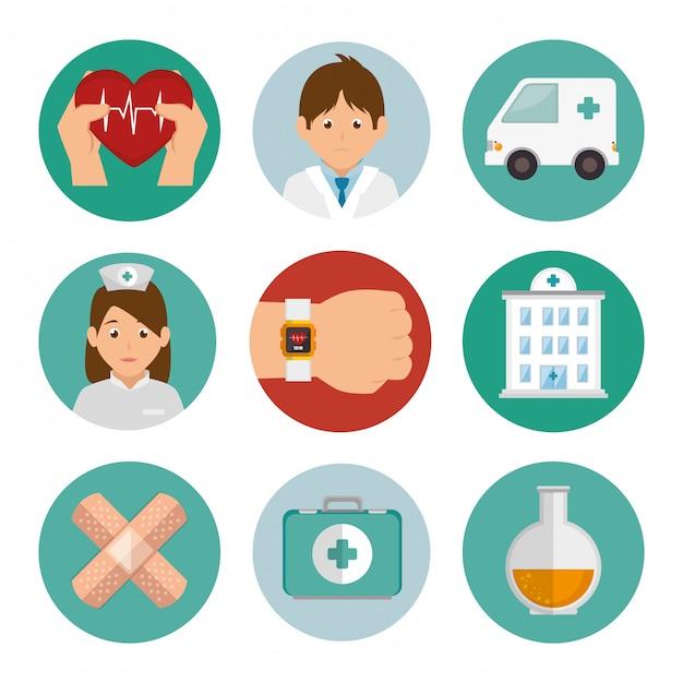 Pakiet Zestaw Ikon Medycyny Premium Wektorów