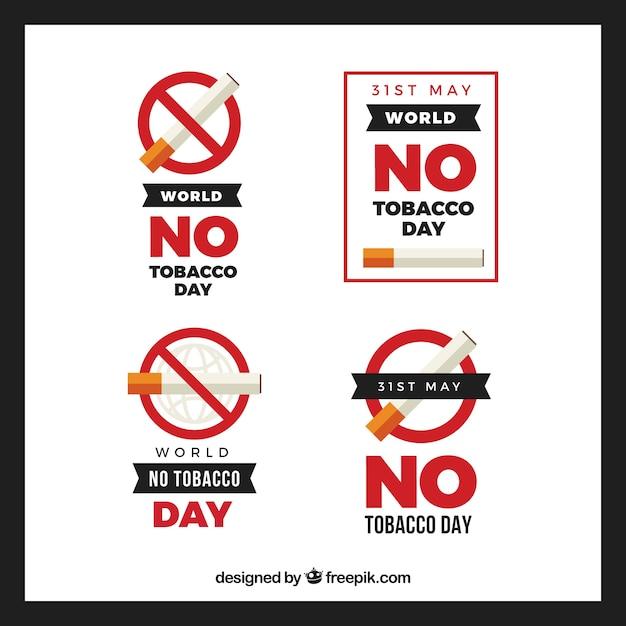 Pakietu Czterech świecie żaden Tytoń Dzień Etykiety W Płaskiej Konstrukcji Darmowych Wektorów