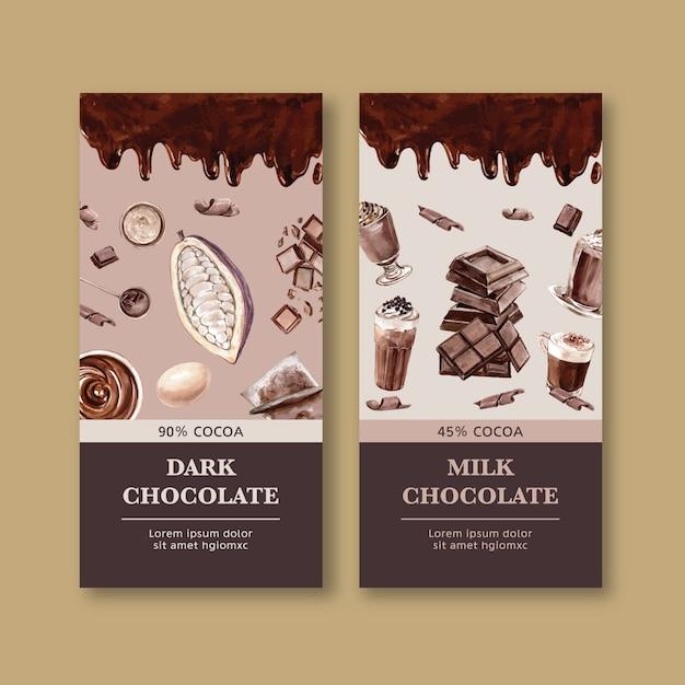 Pakowanie czekolady z kakao składników, ilustracja akwarela Darmowych Wektorów