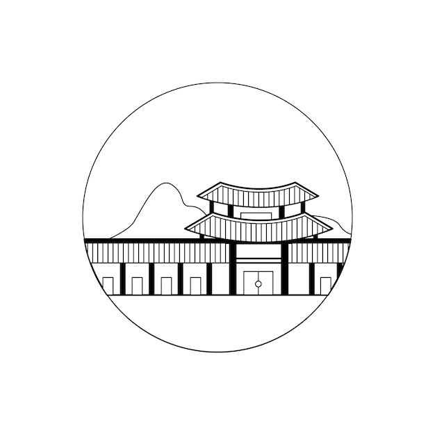 Pałac Koreański W Przejrzysty Projekt Konspektu Premium Wektorów