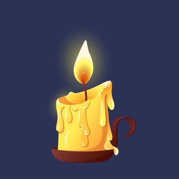 Palenie świec Woskowych Na świeczniku. Premium Wektorów