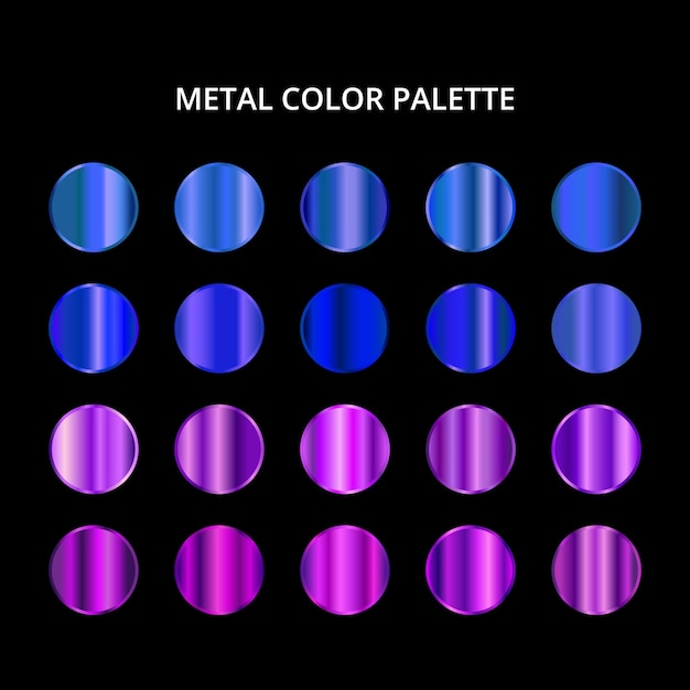 Paleta Kolorów Metalowych. Niebieska Fioletowa Stalowa Tekstura Premium Wektorów