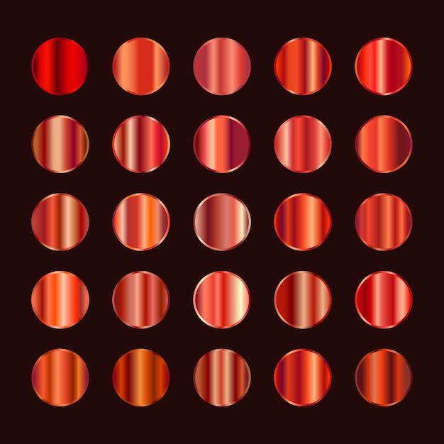 Paleta Kolorów Metalowych. Pomarańczowa Czerwona Stalowa Tekstura Premium Wektorów