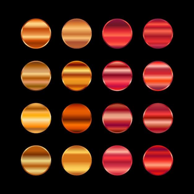Paleta Metalicznych Kolorów W Kolorze Złotym. Pomarańczowa Czerwona Stalowa Tekstura Premium Wektorów