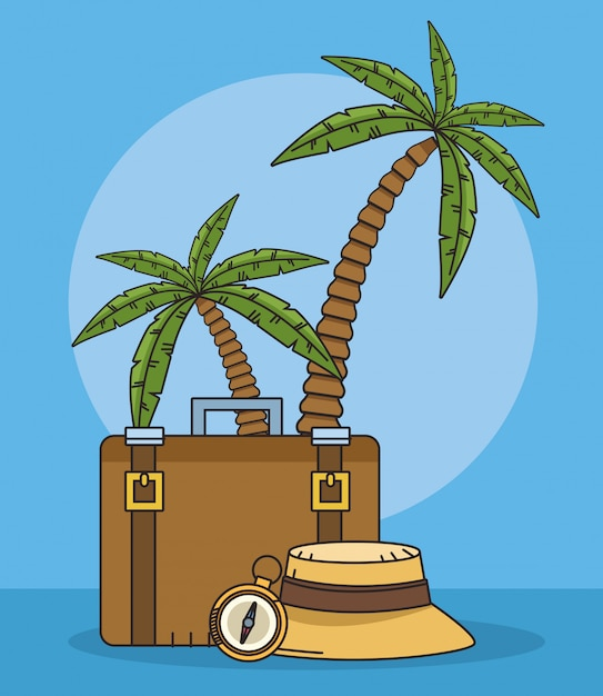 Palmy Plażowe I światowe Projekty Podróży Premium Wektorów