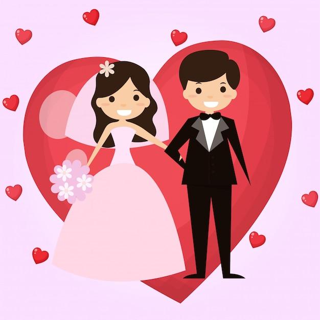 Pan młody i panna młoda są szczęśliwi w dniu ślubu. Premium Wektorów