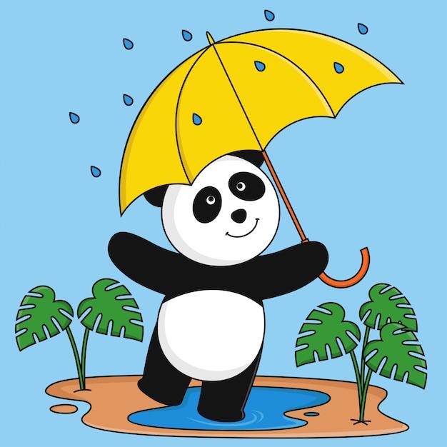 Panda gra w deszczu. Premium Wektorów