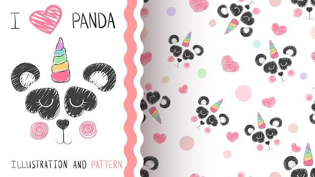 Panda i wzór jednorożca Premium Wektorów
