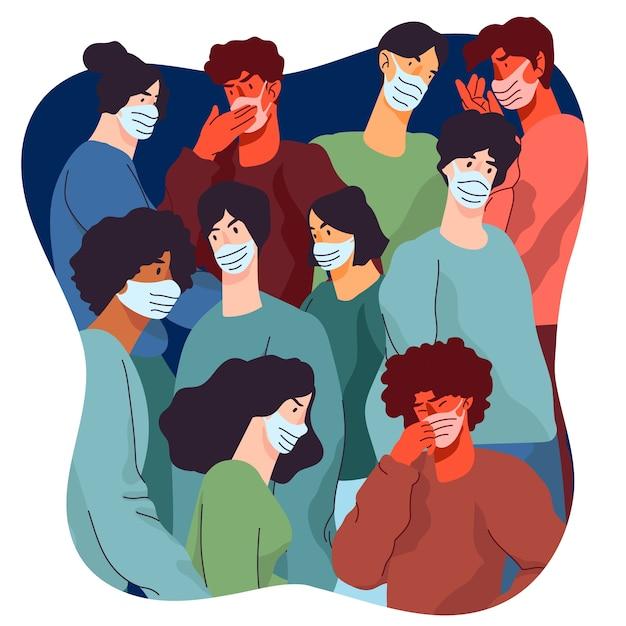 Pandemia I Ludzie W Koncepcji Tłumu Darmowych Wektorów