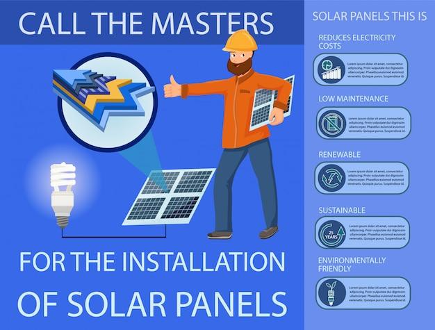 Panel słoneczny i system wytwarzania energii Premium Wektorów