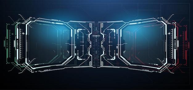Panel Sterowania Hud. Zaawansowana Technologicznie Ramka Z Cyfrowym Hologramem. Premium Wektorów