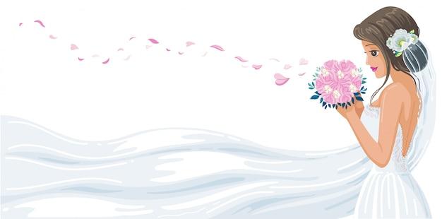 Panna Młoda Piękny Idealny Styl. Biała Suknia ślubna Dmuchana Różowymi Płatkami Róż. Premium Wektorów