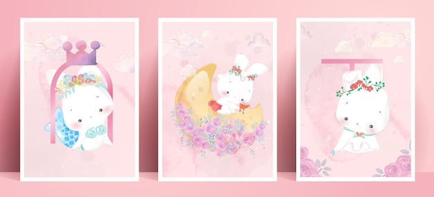 Panorama Akwarelowy Styl życia życie Codzienne Króliki W Ludzkich Gestach Romantyczna Ilustracja W Pastelowej Tonacji Kolorystycznej. Premium Wektorów