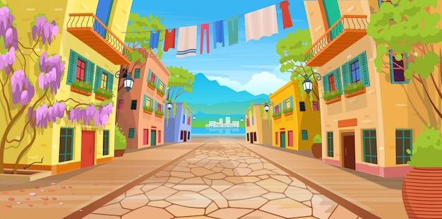 Panorama Drogi Na Ulicę Z Latarniami I Wypranymi Ubraniami. Ilustracja Wektorowa Letniej Ulicy W Stylu Cartoon. Premium Wektorów
