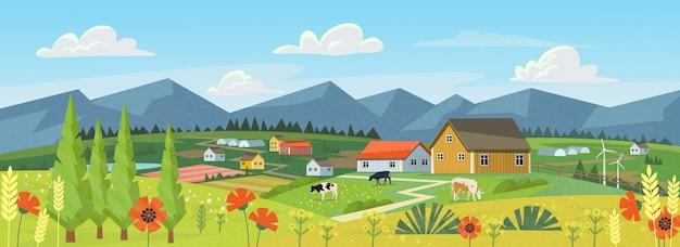 Panorama Farmy Premium Wektorów