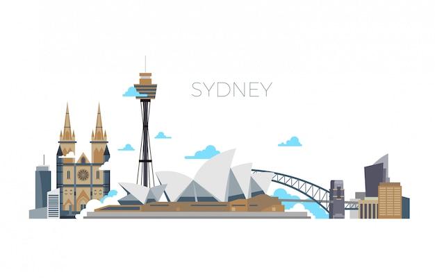 Panorama Miasta Sydney, Australia Podróży Punkt Orientacyjny W Stylu Płaski Premium Wektorów