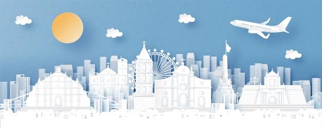 Panorama miasta z filipin i panoramę miasta ze słynnymi zabytkami Premium Wektorów