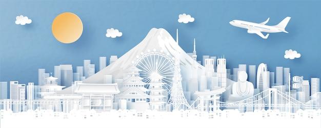 Panorama miasta z panoramą tokio, japonii i miasta ze słynnymi zabytkami Premium Wektorów