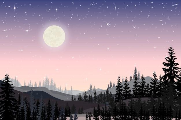 Panorama pejzaż gwiaździstej nocy z pełnym za góry i sosny Premium Wektorów