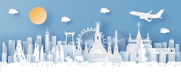 Panorama widok na panoramę bangkoku, tajlandii i miasta ze słynnymi zabytkami świata Premium Wektorów