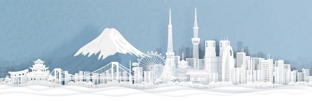 Panorama widok tokio miasta linia horyzontu z światowymi sławnymi punktami zwrotnymi Premium Wektorów