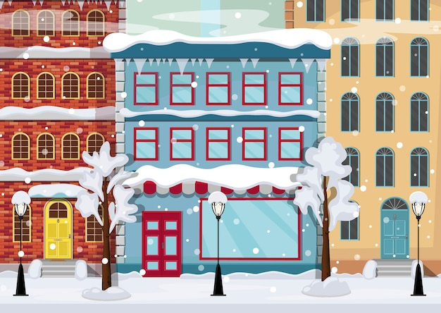 Panorama Zimowego Miasta Z Drzewami Na śniegu, Domami, Latarniami, Drogą. Premium Wektorów