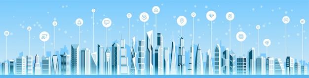 Panoramę gród inteligentnego miasta Premium Wektorów